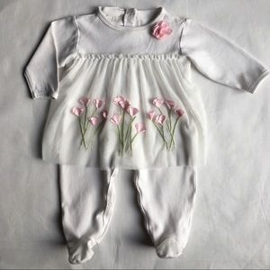One piece outfit white pink flowers Biscotti 6 MO